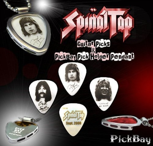 3 SPINAL TAP Guitar PICKs SET & PickBay .925 Sterling Silver Guitar Pick Holder Pendant Set & 20'' Sterling Silver 1mm Necklace This gift goes to ''11''