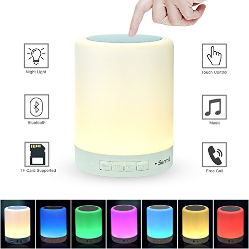 Senmil Table Lamp Night Light Bluetooth Speakers Portable Wireless Music Speaker Smart Touch Sensor Bedside Lamps Dimmable 3 White Light Levels RGB Color Changing with Handle TF Card/AUX-IN Supported
