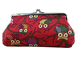iSuperb Coin Pouch Owl Purse Canvas Handbag Gift Jewelry Cards Trinkets Pouch Clasp Closure Wallet 7.1x3.7inches(Red)