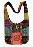 Handcrafted Recycled Razor Cut Heavy Cotton Bohemian / Hippie / Gypsy Shoulder OM Peace Bag Nepal, Bags Central