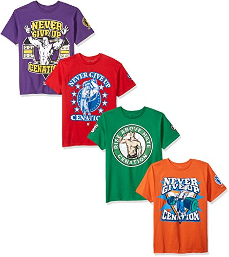 WWE Boys' Big John Cena 4-Pack T-Shirt, Kelly Green/Purple/Red/Orange, XL-18/20 (Wwe Tlc John Cena Vs Wade Barrett)