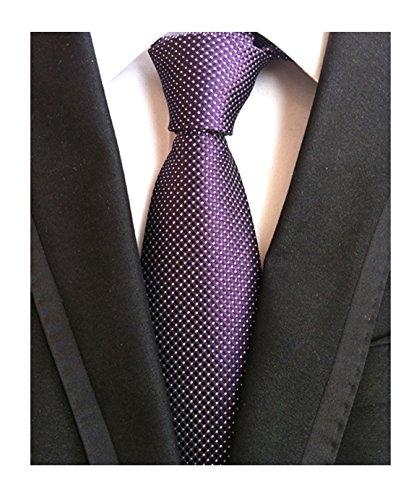 Men Boy Purple White Jacquard Silk Tie Elegant Necktie Every Day Business Attire