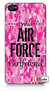 Premium Pink Camo Proud Air Force Military Girlfriend Camouflage Iphone 5, 5s Quality TPU SOFT RUBBER Snap On Case for Iphone 5 - AT&T Sprint Verizon - White Case