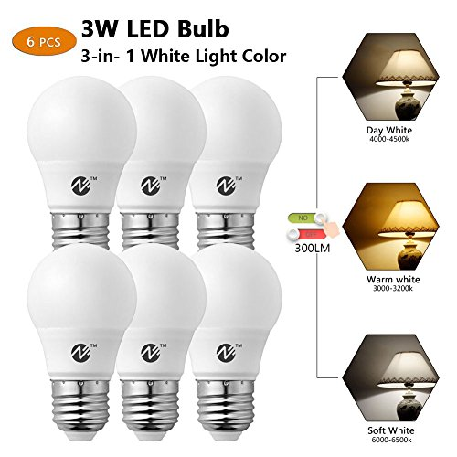 Zeben Lighting LED Bulbs E26 E27 Screw Base 3W 3-in- 1 White Light Color Non Dimmable LED Bulbs 25W Equivalent Led Bulbs Pack of 6