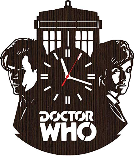 (Lovelygift4you Wooden Wall Clock Doctor who Gifts for Men Women him her dr Accessories Special Merchandise Stuff Vinyl)