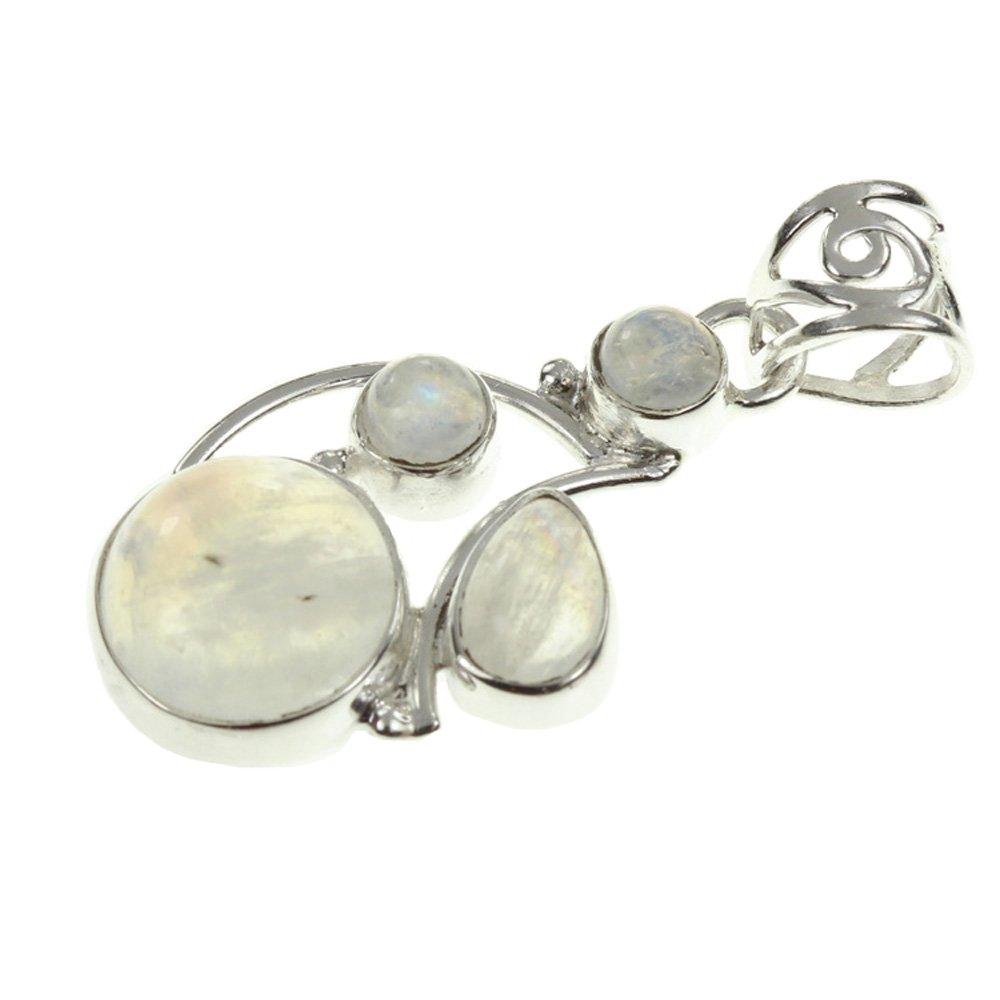 1.5 925 Sterling Silver RAINBOW MOONSTONE Pendant