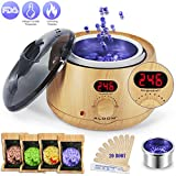 Aldom Hair Removal Waxing Kit Wax Warmer - Electric Wax Pot with LCD Display Precision Temperature Control (110°F - 246°F), 4-Flavor Wax Beans and 20 Wax Applicator Stickers for Rapid Waxing