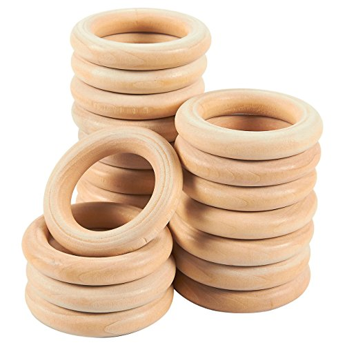 - Natural Wood Ring - 20 Pack Unfinished Wood Rings for Ring Pendant, DIY Connectors, and Jewelry Making, Natural, 2.2 Inch in Diameter