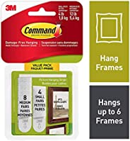 Command Picture Hanging Strips, White, 4 Pairs of Small 8 Pairs of Medium - Hang Picture Frames