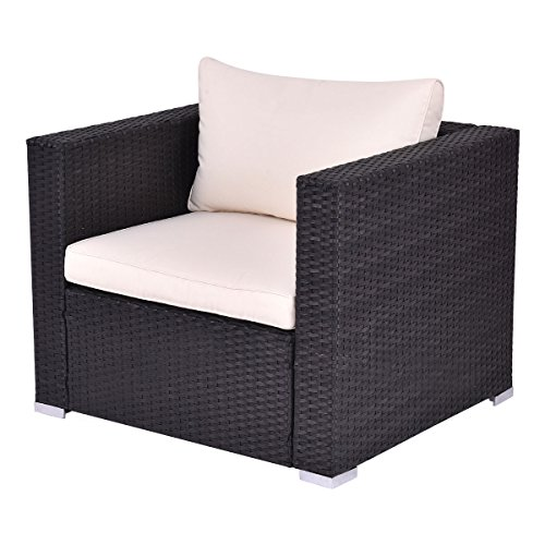- Tangkula Outdoor Wicker Furniture Set Infinitely Combination Cushion Wicker (1 Single Sofa)