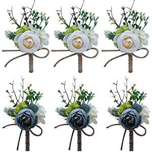Faylapa 6 Pack Groom Boutonniere Best Man Rose Wedding Flowers with Pin Brooch Bouquet Corsage Classic Artificial Flowers for Wedding Prom Party (White+Blue)