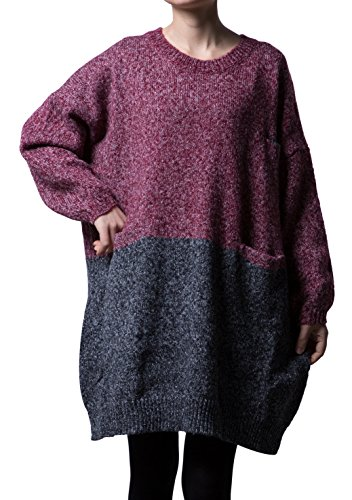 Mordenmiss Women's Oversized Pullover Knit Sweater Top (Size L-Red)