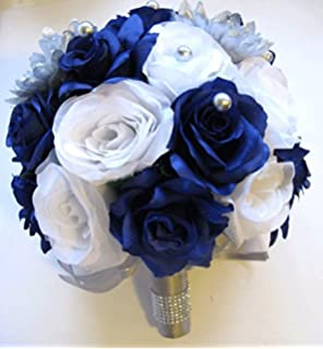 Amazon.com: Wedding Bouquet flowers Bridal silk 17 piece Package ...
