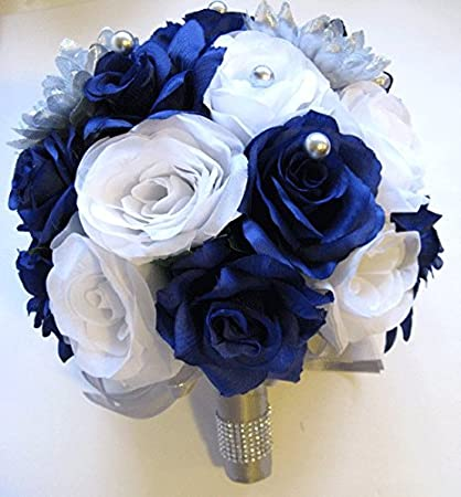Amazon 17 pieces package wedding bouquet bridal silk flower 17 pieces package wedding bouquet bridal silk flower silver royal blue white centerpiece decoration rosesanddreams mightylinksfo