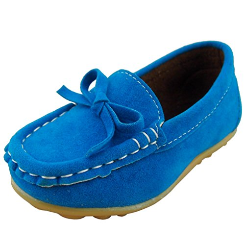 DADAWEN Girl's Boy's Suede Slip-on Loafers Casual Shoes Blue US Size 6.5 (Suede Girls Shoes)