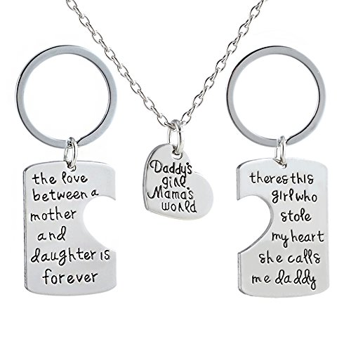 lauhonmin 3pcs Key Chain Necklace Set - Father and Mother I Love U Gift for Daughter Dad Mom Year (Love Necklace Key)