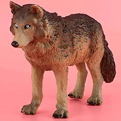 Tnfeeon Wolf Figurine Toy, Simulation Wildlife Animal Model Toy Zoo Animals Model Action Wolf Figures Environmentally Friendly Plastic Mini Decoration for Kids Education Collectibles Gift (Cyan): Toys & Games