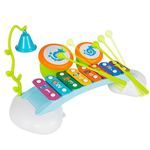 Baby Toys Rainbow Xylophone Musical Toy Piano Bridge Instrument with 6 Music Cards, 8 Notes, Ringing Bell and Drums