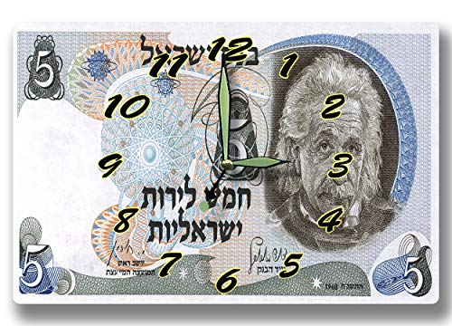 Money Clocks Albert Einstein Israel Currency 5 Lirot Series 1968 8 x 12 inch Clock Theoretical Physics Quantum Mechanics Philosophy Science