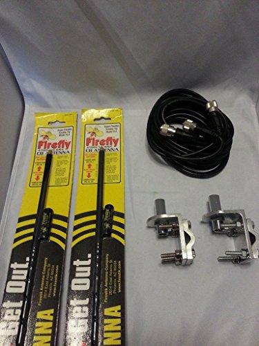 Err 2 Firestik Fl4 B, Fl4b, Black Cb Antennas, 12ft Dual Cophase Coax, Brackets and Studs Combo by ERR