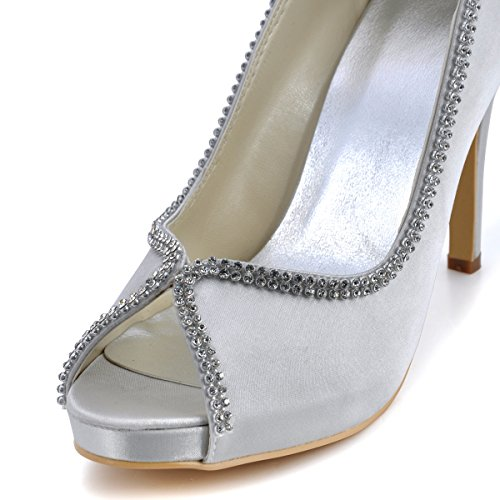 Wedding US EP11083 Women Pumps Peep High Silver Heel Platform Satin Shoes Elegantpark 10 Dress Evening Toe Rhinestones Prom 7aAqAx