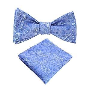 JEMYGINS Original Mens Bowtie Self Bow Tie & Pocket Square Set