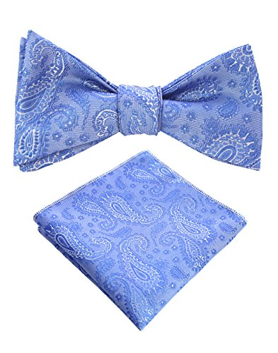 JEMYGINS Original Teal Paisley Mens Bowtie Self Bow Tie & Pocket Square Set (01#2) (Best Way To Store Neckties)