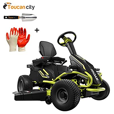 """Ryobi 38"""" Battery Electric Rear Engine Riding Lawn Mower RY48110 and Toucan City Hand Trowel and Nitrile Dip Gloves(5-Pack)"""