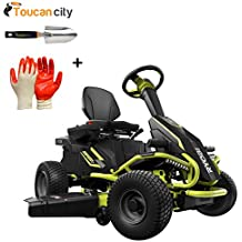 "Ryobi 38"" Battery Electric Rear Engine Riding Lawn Mower RY48110 and Toucan City Hand Trowel and Nitrile Dip Gloves(5-Pack)"