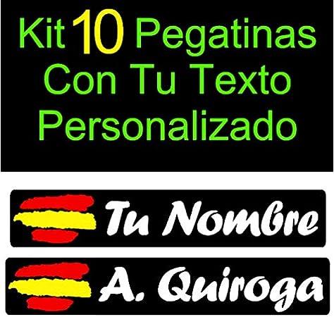 Vinilin - Kit 10 Pegatinas Vinilo Impreso Bandera España + Tu Nombre o Texto Personalizado. Resistentes Al Agua, Al Sol, y a los Arañazos - Laminado UV (Fondo Negro - Texto Blanco): Amazon.es: Coche y moto