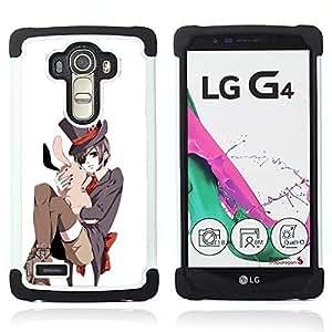 BullDog Case - FOR/LG G4 H815 H810 F500L / - / JAPANESE BUNNY WHITE PINK TOP HAT /- H??brido Heavy Duty caja del tel??fono protector din??mico - silicona suave