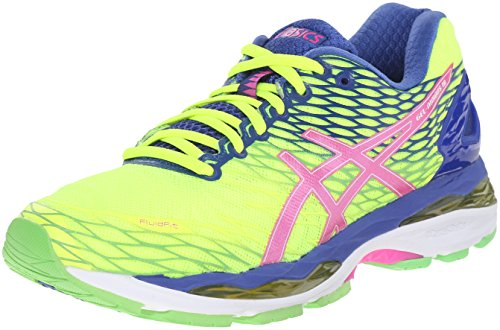 ASICS Women's Gel-Nimbus 18 Running Shoe, Flash Yellow/Pink Glow/Asics Blue, 9 M (Ladies Flash)