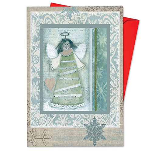 (B6731FXTG Box Set of 12 Snow Angels Christmas Thank You Greeting Cards Featuring Vintage Snowmen and Angels All Decked in Blue for Christmas, with Envelopes)