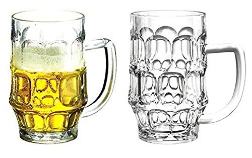 Plastic Jumbo Beer Mugs, Giant Beer Glasses 26oz. EASY to Hold & Handle with no STRESS on your Arm. Beer Glasses Dimple Stein Acrylic,(set of 4) Shatter Proof Crystal Clear, Dimpled & Rugged -