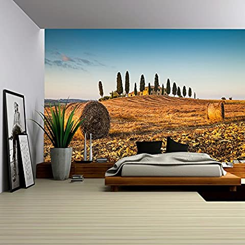 wall26 - Beautiful Tuscany landscape with traditional farm house and hay bales in golden evening light, Val d Orcia, Italy - Removable Wall Mural | Self-adhesive Large Wallpaper - 100x144 (Tuscany Mural)