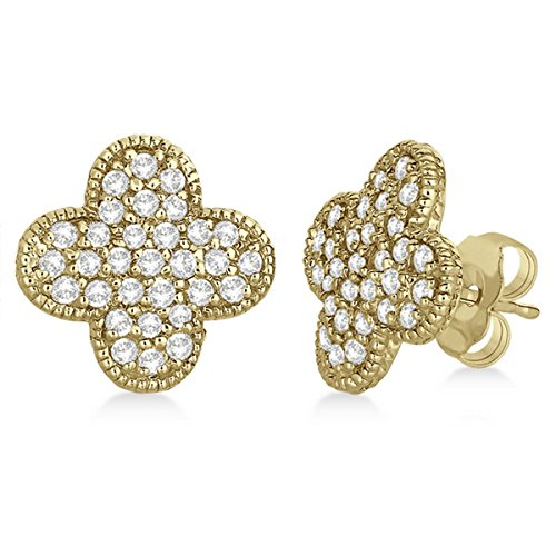 - Four Leaf Clover Diamond Stud Earrings 14k Yellow Gold (0.75ct)