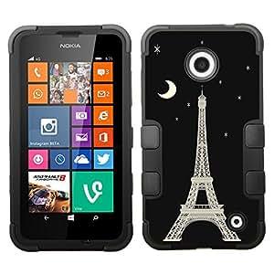 One Tough Shield ? Hybrid 3-Layer Phone Case (Black/Black) for Nokia Lumia 630 / 635 - (Eiffel Tower / Moon) wangjiang maoyi