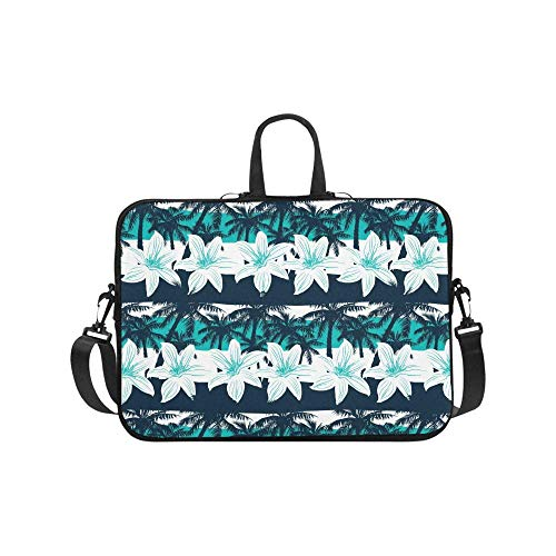 Tropical Frangipani Flowers with Palm Trees and Stripes 17 17.3 Inch Notebook Computer Sleeve Shoulder Bag Neoprene Protective Case with Handle & Strap for Women Men