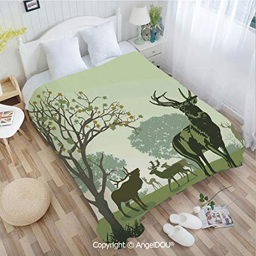 AngelDOU Portable Car Air Conditioner Blanket W72 xL86 Deer and Wildlife in Park World Natural Heritage Forest Areas Reindeer for Home Couch Outdoor Travel.