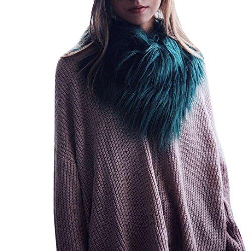 WuyiMC Women Winter Warm Faux Fox Fur Collar Stole Long Scarf Shawl with 2 Balls (Army Green, (Green Fox Fur Headband)