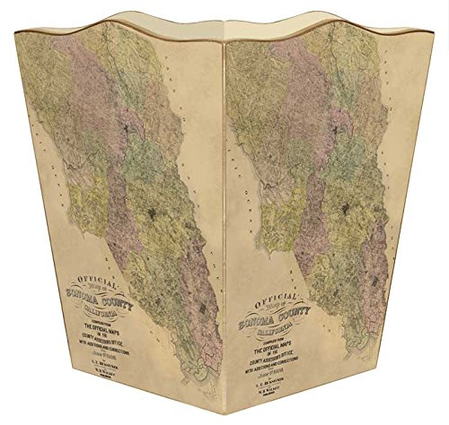 WB2436 - Sonoma County Antique Map Wastepaper Basket