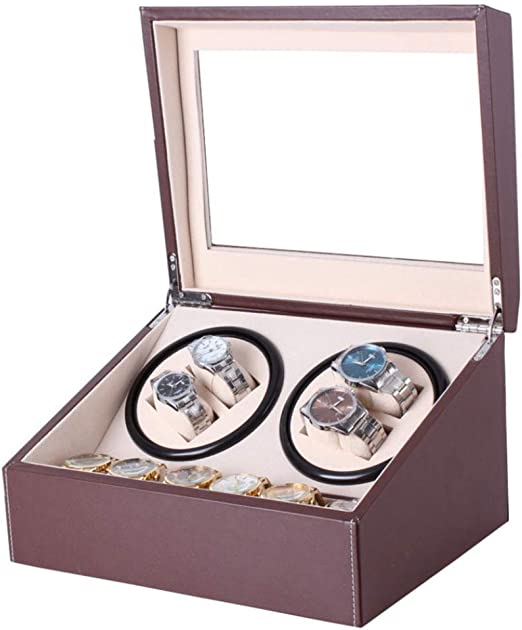 QIALPEG Cajas Giratorias Watch Winder 4 + 6 con Tranquilo Motor Alto Calidad Rotación Automática para Relojes Caso Bajo Poder Operación Y Antimagnético Diseño Vacaciones Regalo,Brown: Amazon.es: Hogar