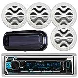 Kenwood KMR-D368BT Marine In-Dash Radio Bluetooth Receiver Bundle Combo With 2 Pairs Of Magnadyne AquaVibe WR45W 5'' Marine Hot Tub Outdoor Waterproof Speaker, Waterproof Receiver Shield Cover