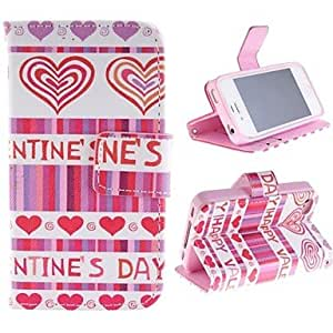 GX Red Peach Heart Design PU Leather Case with Card Slot and Stand for iPhone 4s