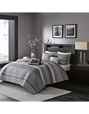 Madison Park Rhapsody Ultra Soft Microfiber King/Cal King Size Quilt Bedding Set, 6 Piece Quilt Coverlets - Grey, Striped