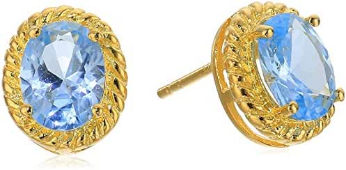 Gold Plated Sterling Silver Spinel Roped Oval Stud Earrings