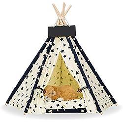 Teepee para mascotas, cama extraíble y lavable para perros Casa de juego para mascotas Gato de perro Mascota (sin cojín) Tienda de campaña Four Seasons, perfecta para pequeños animales como el gato