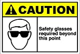 Safety Glasses Required Beyond This Point Caution OSHA / ANSI METAL Sign 10 in x 14 in