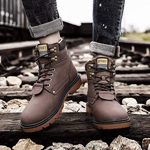 Cálido Botas Cuero Casual Marrón Impermeables Zapatos Martin Forrado Invierno Deslizamiento Hombre No De Seguridad 2 Piel 2018 qz5Fx