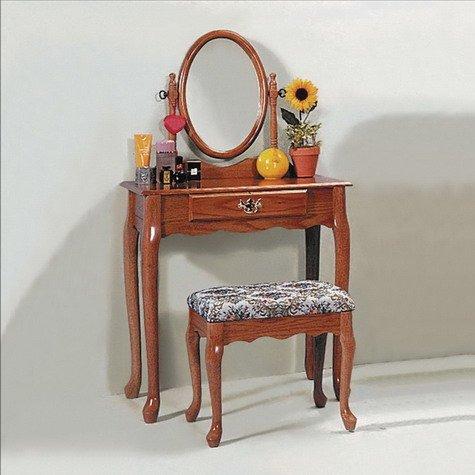 Brand New Oak Finish Classic Stool & Vanity Set w/ Adjustable Mirror